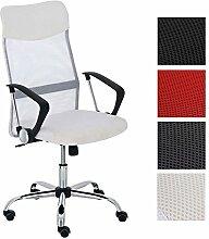 CLP ergonomischer Bürostuhl WASHINGTON V2 mit Armlehnen, belastbar bis 140 kg, Schreibtischstuhl mit Kunstleder- und Netzbezug, Chefsessel höhenverstellbar, in verschiedenen Farben Weiß