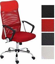 CLP ergonomischer Bürostuhl WASHINGTON V2 mit Armlehnen, belastbar bis 140 kg, Schreibtischstuhl mit Kunstleder- und Netzbezug, Chefsessel höhenverstellbar, in verschiedenen Farben Ro