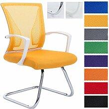 CLP Freischwinger Stuhl mit Armlehne BONNIE, Besucherstuhl, Metallgestell, Netzbezug, belastbar ca. 130 kg Gestell chrom, Bezug gelb