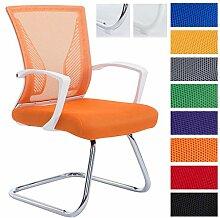 CLP Freischwinger Stuhl mit Armlehne BONNIE, Besucherstuhl, Metallgestell, Netzbezug, belastbar ca. 130 kg Gestell chrom, Bezug orange