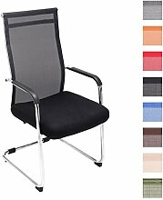 CLP Freischwinger-Stuhl mit Armlehne BRENDA, Netzbezug, Besucherstuhl / Konferenzstuhl gepolstert Schwarz