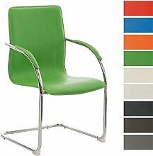 CLP Freischwinger-Stuhl mit Armlehne MELINA, Konferenzstuhl, Besucherstuhl Grün
