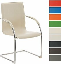 CLP Freischwinger-Stuhl mit Armlehne MELINA V2, Konferenzstuhl / Besucherstuhl mit gepolsterter Sitzfläche Creme