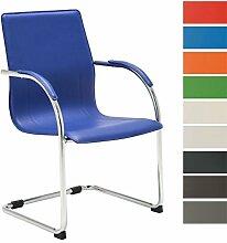 CLP Freischwinger-Stuhl mit Armlehne MELINA V2, Konferenzstuhl / Besucherstuhl mit gepolsterter Sitzfläche Blau