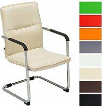 CLP Freischwinger-Stuhl mit Armlehne SEATTLE, Besucherstuhl, Konferenzstuhl gepolstert Creme