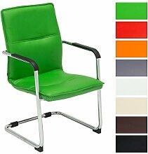 CLP Freischwinger-Stuhl mit Armlehne SEATTLE, Besucherstuhl, Konferenzstuhl gepolstert Grün