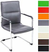 CLP Freischwinger-Stuhl mit Armlehne SEATTLE, Besucherstuhl, Konferenzstuhl gepolstert Grau
