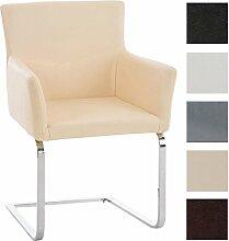 CLP Freischwinger-Stuhl PIRUS mit Armlehne, gepolstert, modern, Sitzhöhe 49 cm Creme