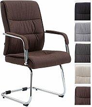 CLP Freischwinger-Stuhl SIEVERT mit Stoff-Bezug, Konferenz-Stuhl gepolstert, Besucherstuhl mit Armlehne, Braun