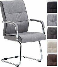 CLP Freischwinger-Stuhl SIEVERT mit Stoff-Bezug, Konferenz-Stuhl gepolstert, Besucherstuhl mit Armlehne, Hellgrau