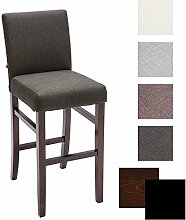 CLP Holz Bar-Stuhl ALVIN, Stoffbezug, Sitzhöhe 75 cm, 12 cm dicke Polsterung Holz Farbe cappuccino, Bezug Farbe dunkelgrau
