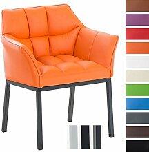 CLP Lounge-Sessel OCTAVIA mit Armlehne, Kunstleder-Bezug, 4 Beine, gepolstert, Sitzhöhe 49 cm Orange, Gestellfarbe: Metall matt schwarz