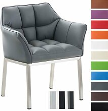 CLP Lounge-Sessel OCTAVIA mit Armlehne, Kunstleder-Bezug, 4 Beine, gepolstert, Sitzhöhe 49 cm Grau, Gestellfarbe: Edelstahl