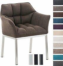 CLP Lounge-Sessel OCTAVIA mit Armlehnen, 4 Beine, Stoff-Bezug, gepolstert, Sitzhöhe 49 cm Braun, Gestellfarbe: Edelstahl