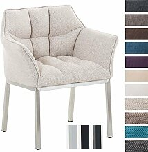 CLP Lounge-Sessel OCTAVIA mit Armlehnen, 4 Beine, Stoff-Bezug, gepolstert, Sitzhöhe 49 cm Elfenbein, Gestellfarbe: Edelstahl