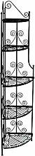 CLP Metall-Eckregal LARISSA, stabiles Klappregal, ca. 35 x 35 cm, Höhe ca. 160 cm, pulverbeschichtet Schwarz