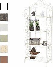 CLP Metall-Standregal ANTJE | Klappregal mit 4 Ablagefächern im Landhausstil | In verschiedenen Farben erhältlich Weiß