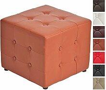 CLP Polster-Hocker CUBIC ca. 45 x 45 x 40 cm, Fußhocker, Sitzwürfel Cognac