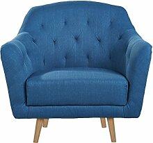 CLP Polster-Sessel LOVIS mit Stoffbezug, stilvolle Ziernähte und dicke Polsterung, langlebiger Sitzkomfort, FARBWAHL Blau