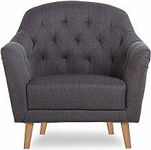 CLP Polster-Sessel LOVIS mit Stoffbezug, stilvolle Ziernähte und dicke Polsterung, langlebiger Sitzkomfort, FARBWAHL Grau