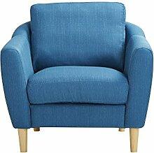 CLP Polster-Sessel NOVA mit Stoffbezug & Füße aus Birkenholz, dicke Polsterung, langlebiger Sitzkomfort, FARBWAHL Blau