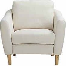 CLP Polster-Sessel NOVA mit Stoffbezug & Füße aus Birkenholz, dicke Polsterung, langlebiger Sitzkomfort, FARBWAHL Weiß