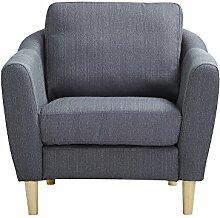 CLP Polster-Sessel NOVA mit Stoffbezug & Füße aus Birkenholz, dicke Polsterung, langlebiger Sitzkomfort, FARBWAHL Grau