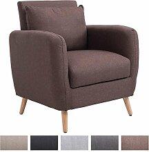CLP Polster-Sessel TILGARD mit Armlehne, Stoff-Bezug, Holzbeine, Belastbarkeit 150 kg, Polsterstärke 10 cm Braun