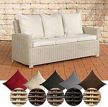CLP Poly-Rattan 3er Sofa FISOLO aus Aluminium I