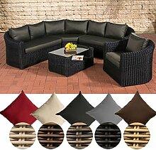 CLP Poly-Rattan Loungemöbel Set COSTA RICA, Sofalandschaft + Sessel + Glastisch, 6 Sitzplätze Bezugfarbe: Anthrazit, Rattanfarbe: Schwarz
