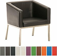 CLP Retro Edelstahl Lounge-Sessel NALA, mit Armlehne, Sitzhöhe 44 cm, 8 cm Polster Schwarz