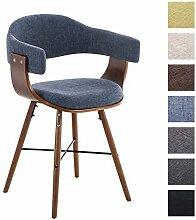 CLP Retro Esszimmer-Stuhl BARRIE V2 Stoff, Holzgestell walnuss, Gastro-Stuhl mit Armlehne, gepolstert, modern Blau