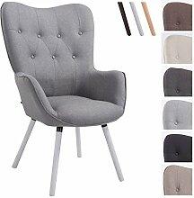CLP Retro-Stuhl mit Armlehne AALBORG, Stoff-Bezug, Holz-Gestell Eiche, belastbar bis 160 kg, sesselförmiger Sitz, gepolstert, Sitzhöhe 49 cm Grau, Holzgestell Farbe: Weiß