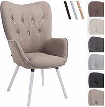 CLP Retro-Stuhl mit Armlehne AALBORG, Stoff-Bezug, Holz-Gestell Eiche, belastbar bis 160 kg, sesselförmiger Sitz, gepolstert, Sitzhöhe 49 cm Taupe, Holzgestell Farbe: Weiß
