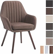 CLP Retro-Stuhl mit Armlehne FLORIAN, Stoff-Bezug, XL bis 160 kg, sesselförmiger Sitz, gepolstert, Sitzhöhe 53 cm Braun, Holzgestell Farbe: Walnuss
