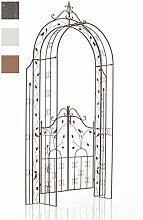 CLP Rosenbogen GRENADA mit TOR/TÜR, Eisen, Tor 1 m breit (Durchgangsbreite 100 cm), Durchgangs-Höhe 235 cm Antik Braun