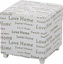 """CLP Shabby Chic Sitzhocker BIJOU mit Stoff-Bezug, 40 x 40 cm, Sitzhöhe 41 cm, """"""""Love Home, Sweet Home"""""""", Sitzwürfel / Polsterhocker im modernen Design Weiß"""