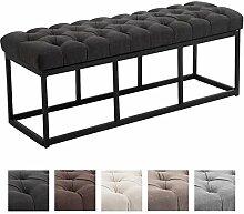 CLP Sitzbank AMUN mit Stoff-Bezug, in den Breiten 100, 120, 150 x 40 cm, Sitzhöhe ca. 45 cm, gepolstert und gesteppt Dunkelgrau, 120 cm Breite