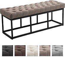 CLP Sitzbank AMUN mit Stoff-Bezug, in den Breiten 100, 120, 150 x 40 cm, Sitzhöhe ca. 45 cm, gepolstert und gesteppt Taupe, 120 cm Breite
