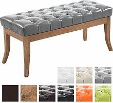 CLP Sitzbank RAMSES mit Kunstleder-Bezug, 4 Holz-Beine antik-hell, in den Breiten 100, 120, 150 x 40 cm, Sitzhöhe ca. 45 cm, gepolstert und gesteppt Grau, Breite 100 cm