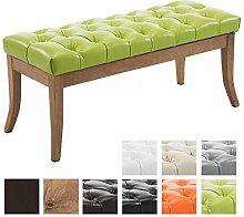 CLP Sitzbank RAMSES mit Kunstleder-Bezug, 4 Holz-Beine antik-hell, in den Breiten 100, 120, 150 x 40 cm, Sitzhöhe ca. 45 cm, gepolstert und gesteppt Grün, Breite 100 cm