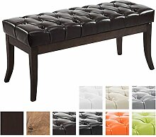 CLP Sitzbank RAMSES mit Kunstleder-Bezug, Polsterbank, 4 Holz-Beine antik-dunkel, gepolstert und gesteppt Braun, 100 x 40 x 45 cm
