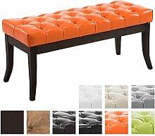 CLP Sitzbank RAMSES mit Kunstleder-Bezug, Polsterbank, 4 Holz-Beine antik-dunkel, gepolstert und gesteppt Orange, 100 x 40 x 45 cm