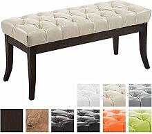 CLP Sitzbank RAMSES mit Kunstleder-Bezug, Polsterbank, 4 Holz-Beine antik-dunkel, gepolstert und gesteppt Creme, 100 x 40 x 45 cm