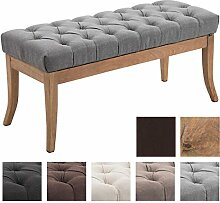 CLP Sitzbank RAMSES mit Stoff-Bezug, 4 Holz-Beine antik-hell, in den Breiten 100, 120, 150 x 40 cm, Sitzhöhe ca. 45 cm, gepolstert und gesteppt Grau, Breite 100 cm