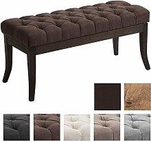 CLP Sitzbank RAMSES mit Stoff-Bezug, Polsterbank, 4 Holz-Beine antik-dunkel, gepolstert und gesteppt Braun, 100 x 40 x 45 cm