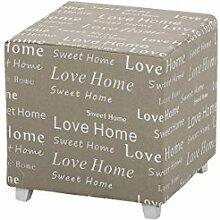 """CLP Sitzhocker FABIENNE mit Stoff-Bezug, 40 x 40 cm, Sitzhöhe 40 cm """"""""Love Home, Sweet Home"""""""", eckiger Sitzwürfel gepolstert, Fußhocker / Polsterhocker Grau"""