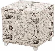 CLP Sitzhocker, Sitzwürfel, Fußhocker gepolstert AMAJA, 40 x 40 cm, Sitzhöhe 40 cm, eckiger Polsterhocker mit Stoff-Bezug Hellgrau
