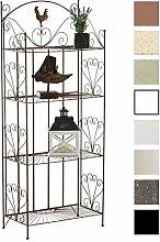 CLP Standregal MIA aus Eisen | Klappregal mit 4 Ablagefächern im Landhausstil | In verschiedenen Farben erhältlich Antik Braun