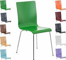 CLP Wartezimmer-Stuhl PEPE, Holzsitz, ergonomisch geformt, robust, pflegeleicht Grün